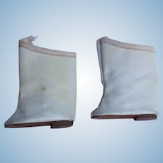 Doll High Top Shoes/Boots of Off White Leatherette.