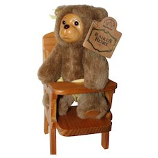 "8"" Plush Raikes Bear w/Wood Highchair."