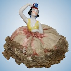 "Vintage 3 1/4"" German Half Doll Pin Cushion."