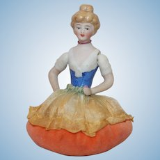 "Vintage 3 ½"" Jointed arms, China Half Doll Pin Cushion."