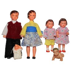 Vintage Marked German Doll House Family of Six.