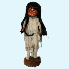 "14"" Jointed Carved Wood Doll signed Van Vliet."