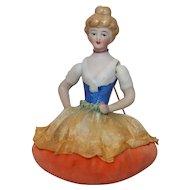 """Vintage 3 ½"""" Rare Jointed Arm China Half Doll Pin Cushion."""