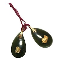 Pair of Jade Earrings with Gold Nuggets and GF Bail.