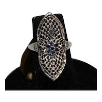 Size 6, 10K White Gold Vintage Filigree Ring with Sapphires.