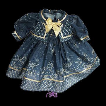 1970's or 80's Navy Blue Doll Dress with Metallic Trim of 100% Mylar