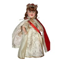 "15"" a/o Compo Barbara Ann Scott Coronation Queen, marked and Made by Reliable Doll Co., Canada."