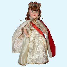 """15"""" a/o Compo Barbara Ann Scott Coronation Queen, marked and Made by Reliable Doll Co., Canada."""