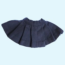 Doll Clothes - A Heavy Navy Blue Wool Pleated Doll Skirt, Made in the 40's
