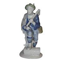 Gerold  Porzellan Porcelain Wood Cutter Figurine, Made in Western Germany