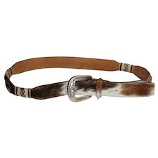 Justin Leather and Cow Hide Belt with Metal Silver Buckle.
