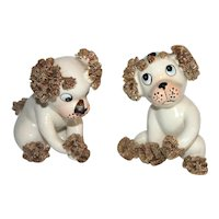 Pair of Vintage Lefton Spaghetti Dog Figurines.
