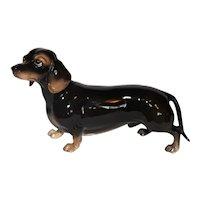 Vintage Tagged Shafford Blue Ribbon Dachshund Dog Figurine.