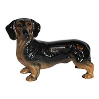 Vintage Coopercraft, Made in England, Chocolate Dachshund Dog Figurine
