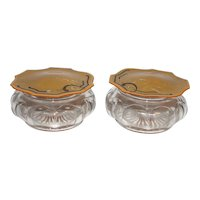 Pair of Vintage 1920-1930's Vanity Powder Boxes with Celluloid Lids