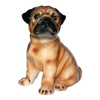 Large Pug Dog Figurine, Hand Painted Marked Made in Italy.