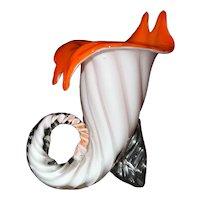 Vintage Blown Murano Art Glass Cornucopia Vase, Made in Italy 1960's.