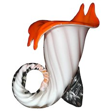 Vintage Blown Murano Art Glass Cornucopia Vase, Made in Italy 1960's.
