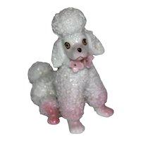 White Poodle Seated Dog Figurine.