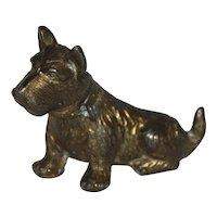Solid Brass Scottie Dog Figurine.