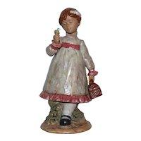 Nadal Handcrafted Porcelain Girl w/ Flower, Made in Spain.