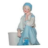 Vintage Seated Lady With Pot, Made in Germany