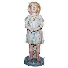 Vintage German Porcelain Pastel Girl Figurine.