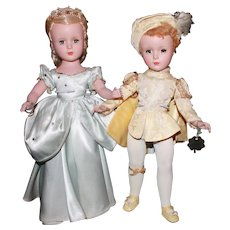 14'' h.p. Pair a/o Mde Alex Cinderella 1950-1951 and 1948-50 Prince Charming Margaret face and Mint