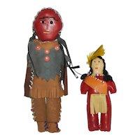 Indian Reservation Hand Made Buck Skin Niagara Falls Dolls, Vintage