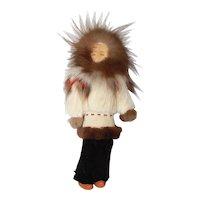 "11"" Vintage Real Rabbit Fur Vintage Made Native Alaskan Eskimo Doll"