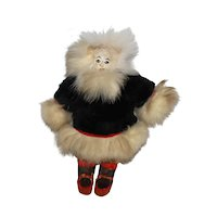 """7"""" Vintage Fur and Leather Native Made 1940's Inuit Eskimo Doll."""