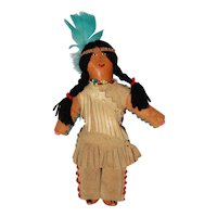 """10 ½"""" Vintage Native Made Buck Skin and Beaded Plains Indian Doll."""