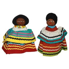 "Pair of 5"" Vintage Seminole Miccosukee Palmetto Bark Indian Dolls."