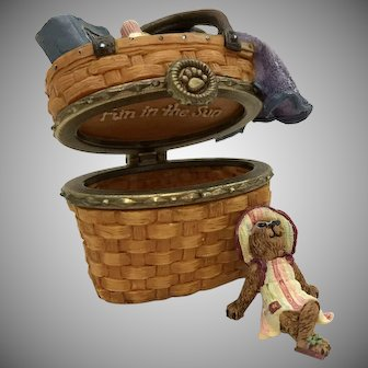 "Boyds 2003 LE Longaberger ""Sunnie's Boardwalk Basket"" Treasure Box [392135LB]"