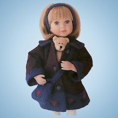 """Boyds Yesterday's Child Porcelain Doll #4828 """"Danielle with Chilly ... Friends Keep Us Warm"""""""