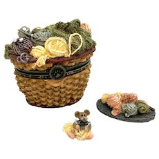 Boyds Fuzzface's YARN BASKET w/Purl Too McNibble  Treasure Box
