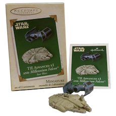 "Hallmark MINIATURE Keepsake Ornament ... 2005 ""TIE Advanced x1 and Millennium Falcon"", a Star Wars Ornament"