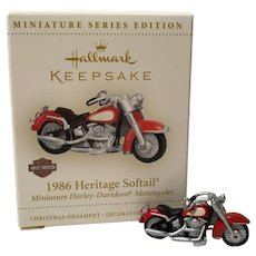 """2006 Hallmark """"1986 Heritage Softail"""" HARLEY Miniature Ornament"""