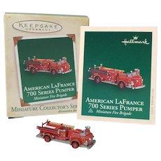 "2005 Hallmark ""American LaFrance 700 Series Pumper"" Miniature Ornament"