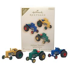 """2007 LE Hallmark """"Antique Tractors"""" Miniature Ornament Set"""