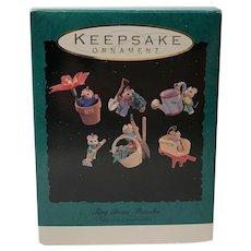 "1993 Hallmark ""Tiny Green Thumbs"" Miniature Mouse Ornament Set"