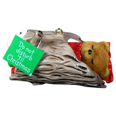 1985 Hallmark DO NOT DISTURB BEAR Sleeping Bear in Log Keepsake Ornament