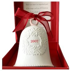 2007 Hallmark Porcelain Dated Bell with Embossed Wreath and Red Satin Ribbon
