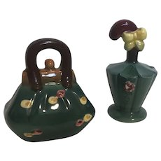 1950's Vintage Carpet Bag/Hand Bag and Umbrella Salt and Pepper Shakers [Japan]