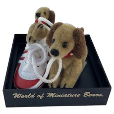 "World of Miniature Bears, LE ""Yummy Shoe"" Dogs #1026 by Artist Becky Wheeler"