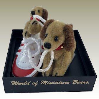 "World of Miniature Bears, LE ""Yummy Shoe"" Dogs #1026 by Artist Becky Wheeler"