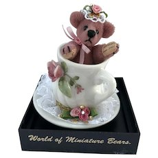"World of Miniature Bears, LE ""Tea Time"" #994, Bear in Tea Cup, by Artist Becky Wheeler"