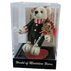 "World of Miniature Bears, LE ""Chris"" #713, Christmas bear, by Artist Becky Wheeler"