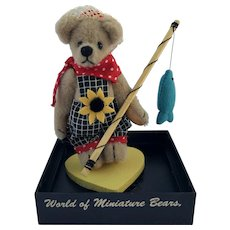 "World of Miniature Bears, LE ""David"" #644, the fisher-bear, by Artist Becky Wheeler"