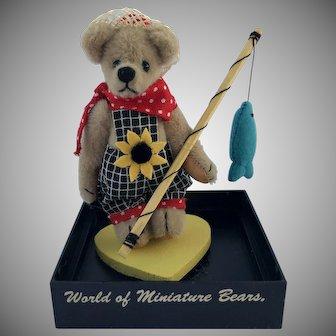 "World of Miniature Bears, LE ""David"" #644, the fisher-bear, by Artist Becky Wheeler"